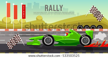Car racing banner, car on a start line, racing bolides, formula car speeding, tyre drift on race circuit finish line vector