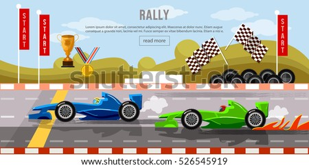 Car racing banner, cars on a start line, bolides, formula car speeding,  tyre drift on race circuit finish line vector