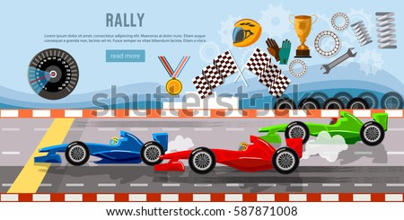 Car racing banner. Tyre drift on race circuit finish line. Motor racing cars on a start line, formula car speeding