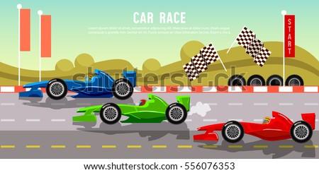 Car racing banner tyre drift on race circuit finish line motor racing cars on a start line formula car speeding