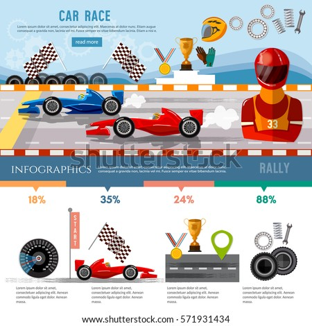 Car racing infographic, auto sport championship symbols and charts racing formula cars on a start line template