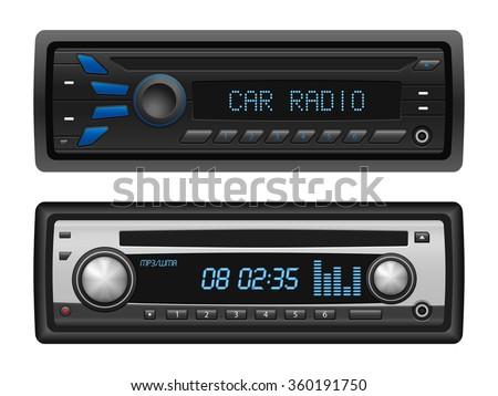 car radio set on a white