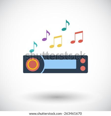 car radio single flat icon on