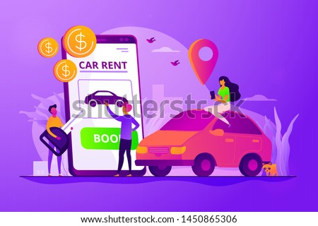 Car rent, automobile leasing. Clients choosing personal transport. Auto dealership. Rental car service, budget car rental, online car booking concept. Vector isolated concept creative illustration