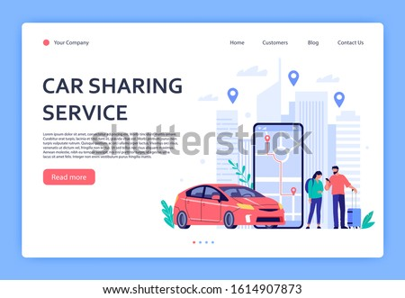 Car rent. Cars rent phone services, car sharing or taxi mobile application. Urban locations, travel points on city map landing page, vehicle dealer renting shop vector illustration