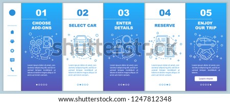 Car rental service onboarding mobile web pages vector template. Auto leasing. Responsive smartphone website interface idea with linear illustrations. Rent a car. Webpage walkthrough step screens