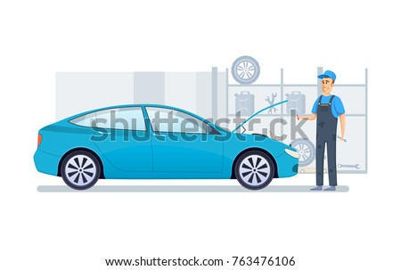 Car repair and service. Mechanic repairs and diagnostics car in building of auto service. Auto mechanic working in auto repair service. Repair machines, equipment. Vector illustration.