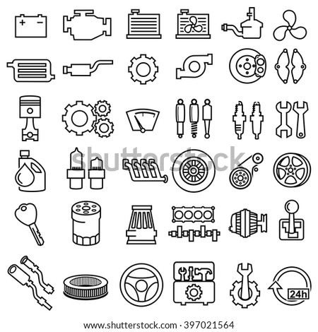 Car repair Engine outline icons vector