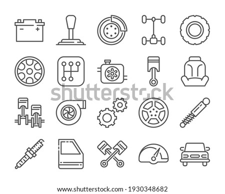Car repair icon. Car Parts line icons set. Vector illustration. Editable stroke. Foto d'archivio ©