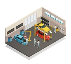 Car repair maintenance autoservice center garage  isometric view interior with mechanics testing lifted vehicles vector illustration