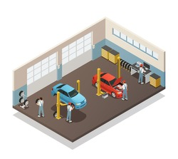 Car repair maintenance autoservice station isometric view interior with auto mechanic team with 2 vehicles vector illustration