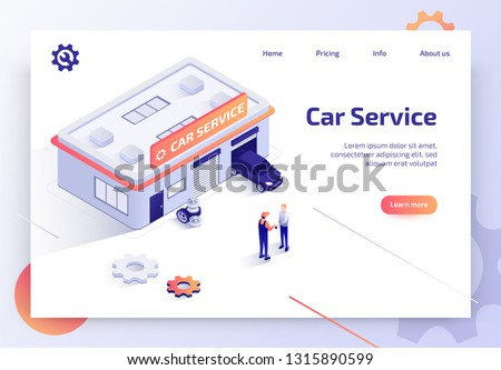 Car Repair Service, Auto Diagnostics Center, Automobile Maintenance Station Isometric Vector Web Banner, Landing Page. Worker Returning Keys from Repaired Vehicle to Car Owner Near Garage Illustration