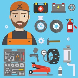 Car repair service concept with tuning diagnostics flat elements and worker man.