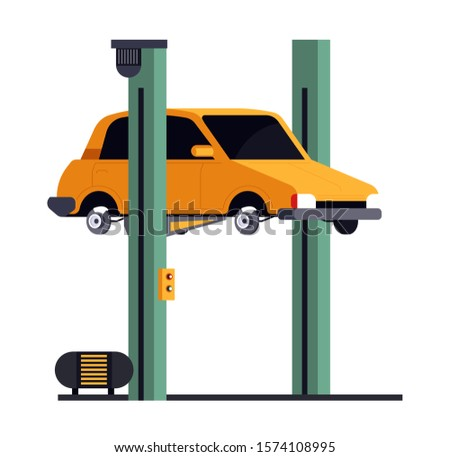 Car repair service, vehicle on lift, automechanic garage station isolated icon vector. Repairment shop, lifted auto diagnostics, mechanic equipment. Repairing and maintenance automobile in workshop