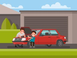 Car repair. Son helps his father to repair the car. Vector illustration of a flat design