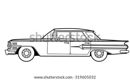 Car retro line drawing
