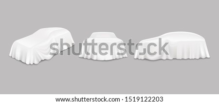 Car reveal event drapes, side front view, vector isolated illustration. Automobile hidden behind realistic white unveiling cloth. New car model presentation, auto show.
