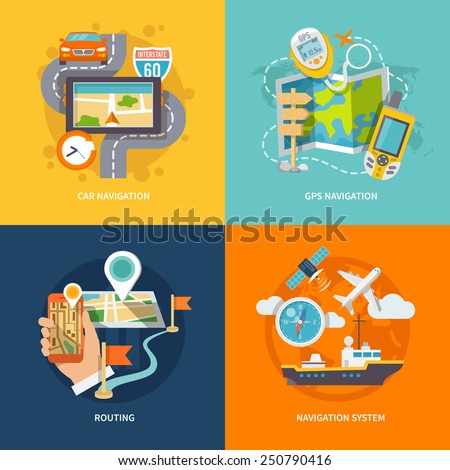 Car 60 Route map and GPS navigation system device 4 flat icons composition abstract isolated vector illustration