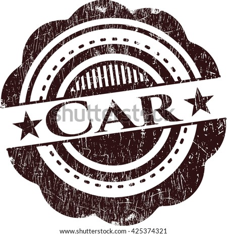 Car rubber stamp with grunge texture