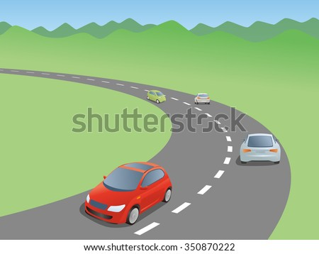 car running a curved road