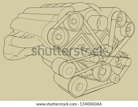 Car's engine vector.