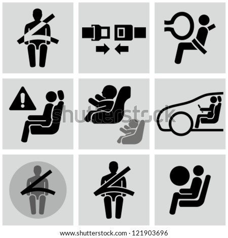 Car safety belt icons. Baby in car.