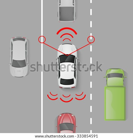 car safety system with top view