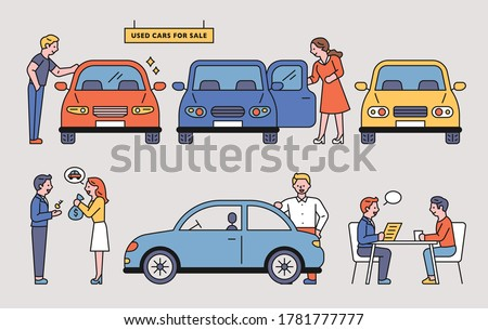 Car sales shop. The customer is consulting a dealer and buying a car. flat design style minimal vector illustration.