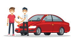 Car salesman give a new car key and handshake to customer. Vector illustration in a flat style.