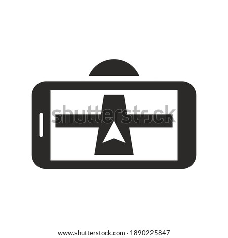 Car SAT NAV, GPS navigation icon. Mobile phone. Car phone holder. Vector icon isolated on white background. Imagine de stoc ©