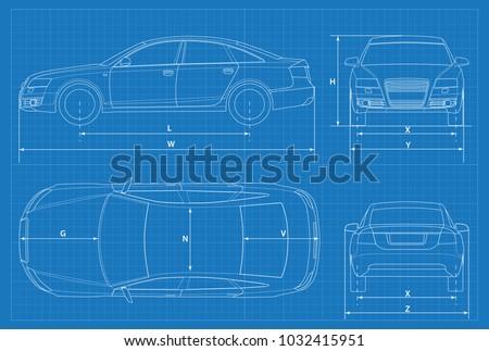 car schematic or car blueprint