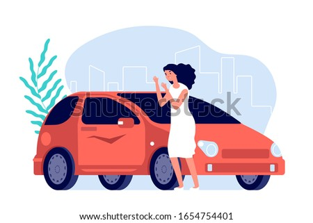 Car scratches. Sad woman, flat worry girl with red auto. Spoiled transport needs repair. Disappointed female and vehicle vector illustration