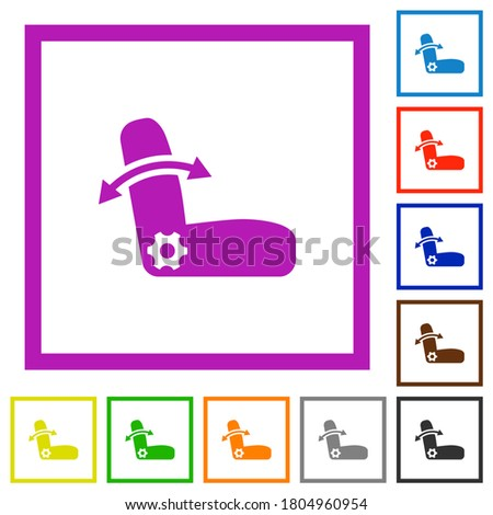 Car seat adjustment flat color icons in square frames on white background Photo stock ©