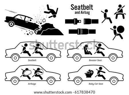Car Seat Belt and Airbag. Artworks depict car crash accident, buckle seatbelt, airbags, booster seat for child, and baby car seat.