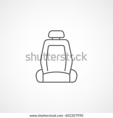 Car Seat Line Icon On White Background