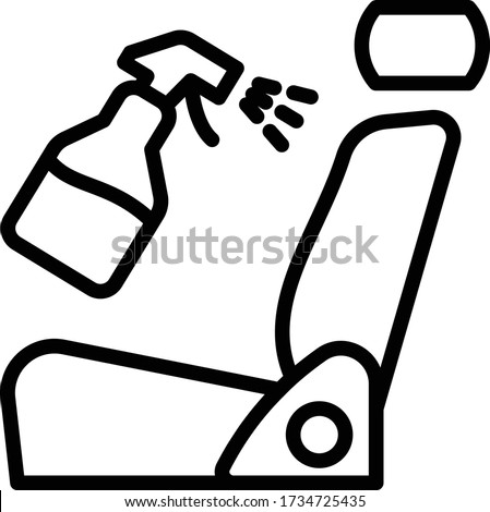 Car Seat with Cleaning Sprayer Concept, Interior Car Detailing vector Icon Design, Coronavirus Vehicle Disinfection Symbol, Carwash & Detail Center equipment on white background,
