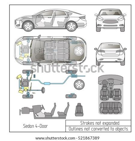 car sedan engine parts interior seats drawing outline strokes not expanded