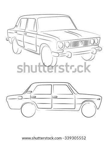 two isolated retro cars in silhouette line style with s le text 1970 Impala Sedan two isolated retro cars in silhouette line style with s le text four door sedan and wagon typical vintage vehicle car vector stock image ez canvas