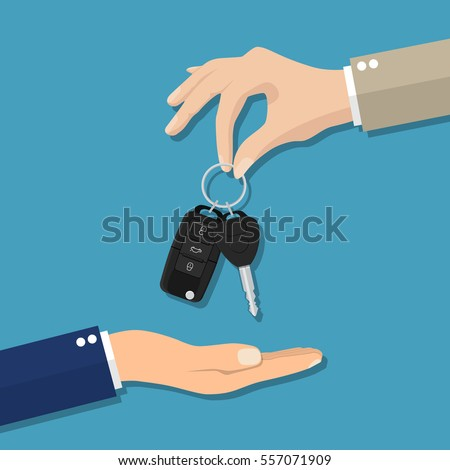 Car seller hand giving key to buyer. car rental or sale concept. Vector illustration in flat style
