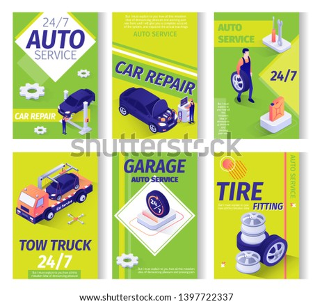 Car Service Advertisement Isometric Set. Repair Station, Maintenance Garage or Online Workshop Offers. Tow Truck Assistance, Tire Fitting, All-Day Auto Servicing. Working Staff. Vector 3d Illustration