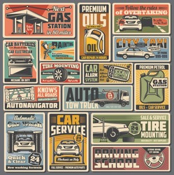 Car service and auto parts retro vector posters. Repair shop, vehicle tire mounting, motor oil. Mechanic on duty, auto painting service. Gas station, autonavigator and driving school vintage cards set