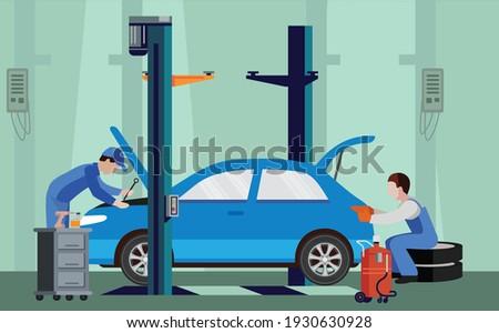 Car service and repair building or garage. Car repair shop