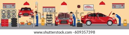 Car service and repair building or garage.Flat car repair shop.