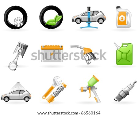 Car service and Repairing icon set - stock vector