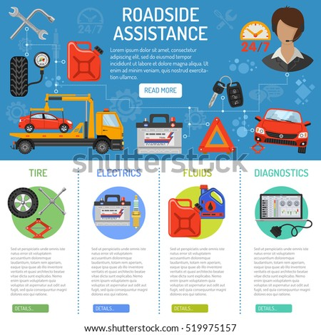 Car Service and Roadside Assistance Infographics with Flat Icons tow truck, support, accumulator and jack Vector illustration.