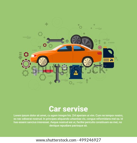 Car Service Auto Mechanics Business Web Banner Flat Vector Illustration