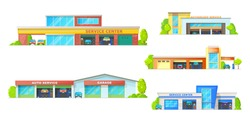Car service building vector icons with auto repair shop, mechanic garage or workshop, car wash station and spare parts store. Automobile vehicle centers with doors, wheel tyres and lifting platforms