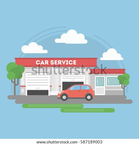 Car service building with landscape and car.