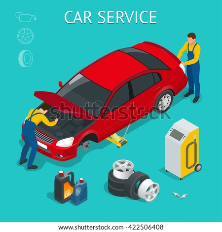 Car service center. Workers repairing and testing the car. Flat 3d isometric illustration. For infographics and design
