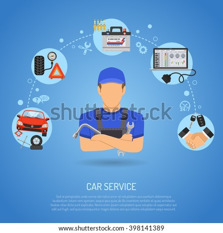 Car Service Concept for Poster, Web Site, Advertising with Flat Icons like Laptop diagnostics, Spark Plug, Battery and Mechanic. vector illustration